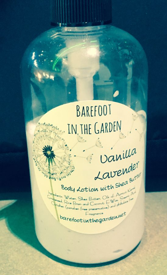 Barefoot in the Garden body lotion comes in vanilla lavender.