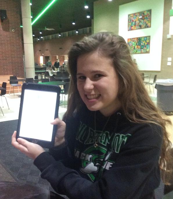 Freshman Madeline Hardwick reviews her schedule.