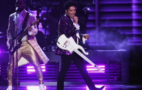 Bruno Mars dons purple for his tribute to Prince (courtesy of spin.com).