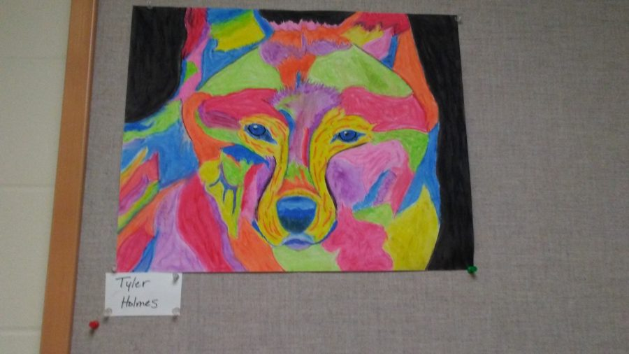 Wolf+oil+pastel+painting+by+senior+Tyler+Holmes+will+be+entered+into+the+art+show.+