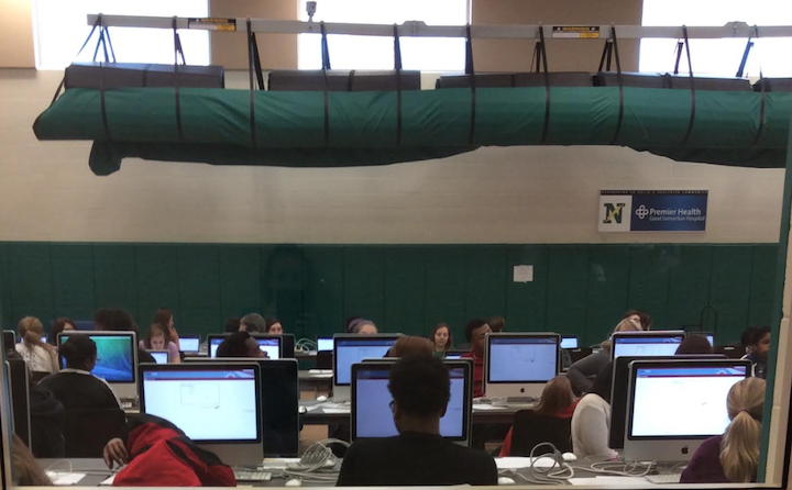 Hundreds of students file into the multi-purpose room, normally used for the wrestling team, to take the American government test, one of many state-mandated EOC assessments.
