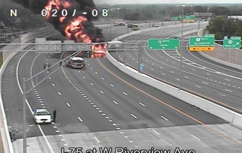 Gas tanker and car explode on Interstate 75 (courtesy of Fox19).