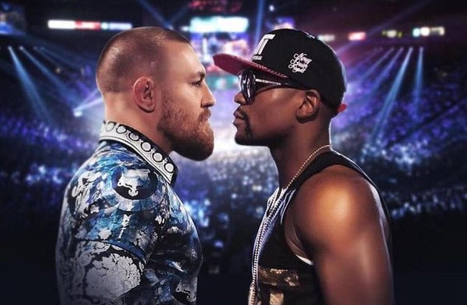 McGregor and Mayweather stare each other down preparing for the fight (photo courtesy of SB Nation).