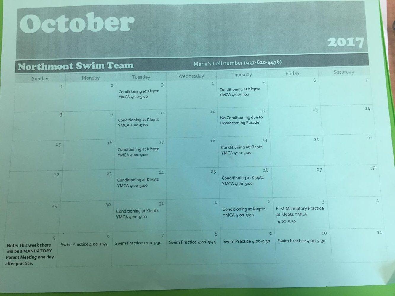 Sophomore+Jasmine+Johnston%27s+first+schedule+for+the+swim+year.+