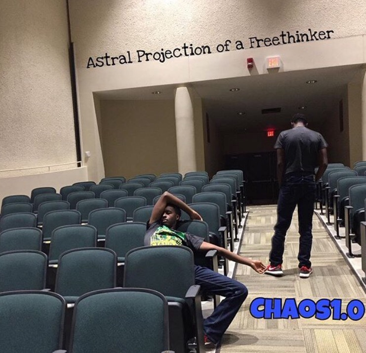 The cover of sophomore Jeffery Rucker's new mixtape features the auditorium ( courtesy of Chaos1.0).