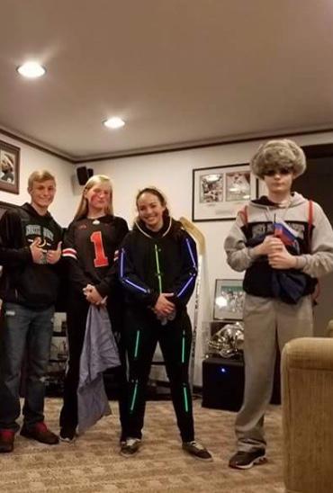 Sophomores Logan Jacobs, Kaylee Wood, Sierra Caskey, and Kody Barnett dress up for Halloween.