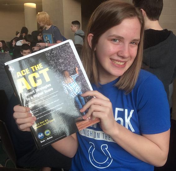 Sophomore Lindsey Dresnek studies her ACT Prep book.