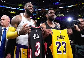 LeBron and Dwyane ext aching jerseys on there last game
