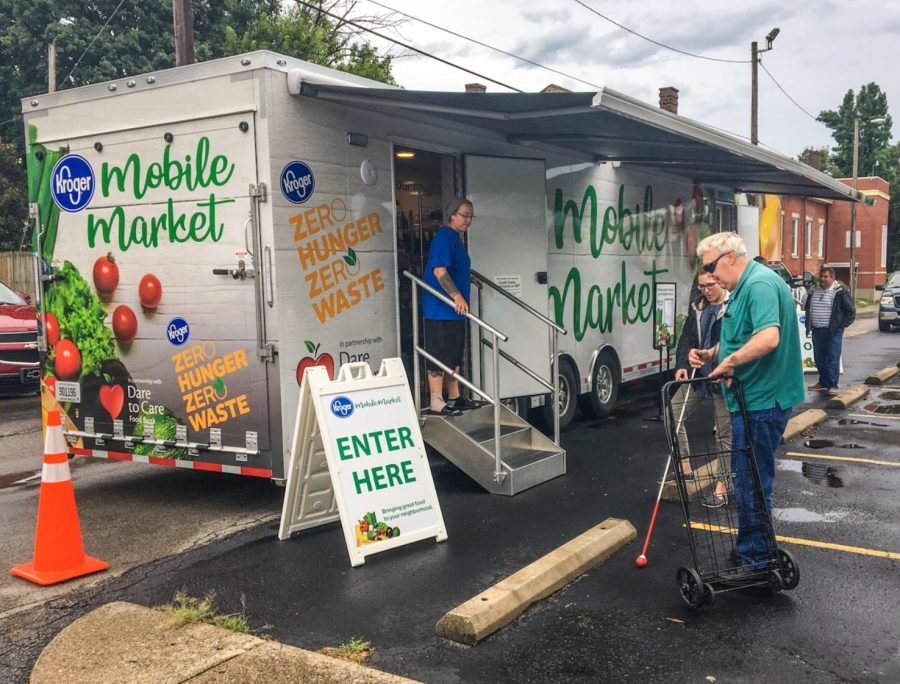 Kroger's designed its first mobile grocery store and reveals it to Louisville citizens.