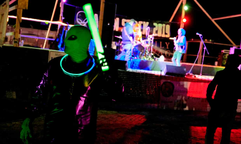 'Alien hunters' dance to live music in Rachel, Nevada, on Thursday night.