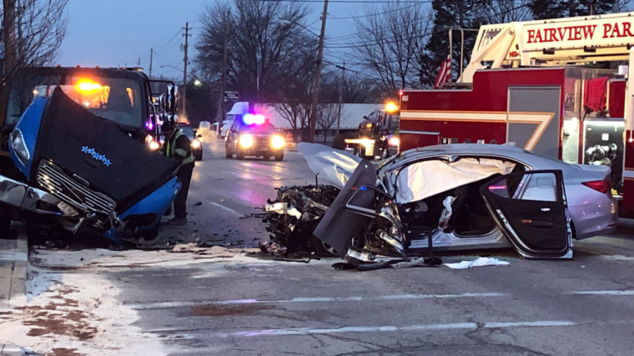 Hit-and-run crash in Ohio leaves car totaled.