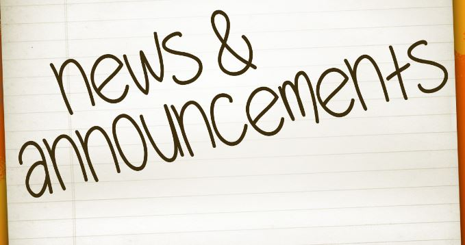 MORNING ANNOUNCEMENTS FOR JANUARY 17th